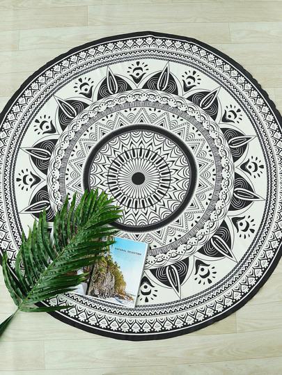 Mandala Print Boho Round Beach Blanket