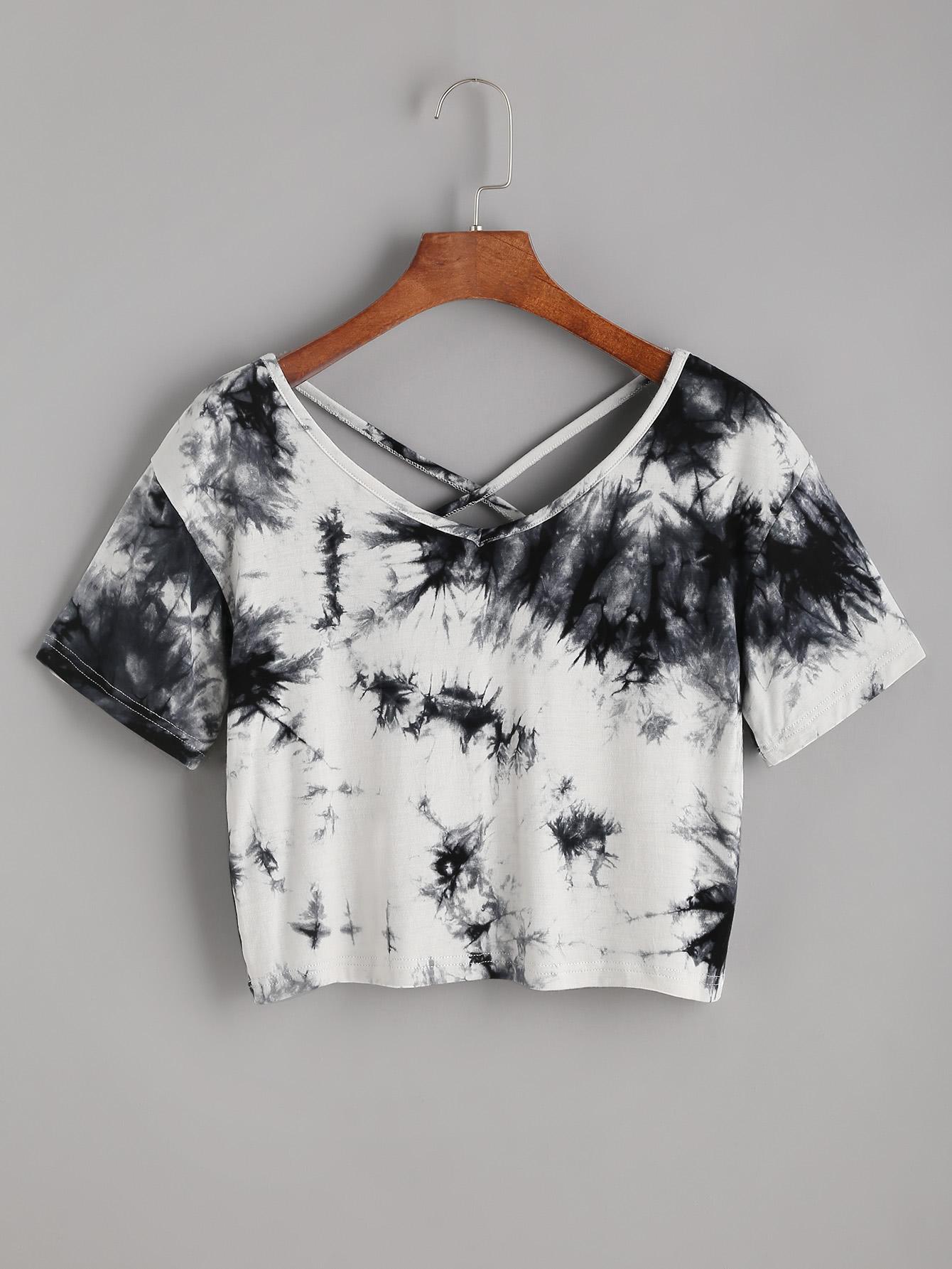 Фото Tie Dye Criss Cross Back Crop T-shirt. Купить с доставкой