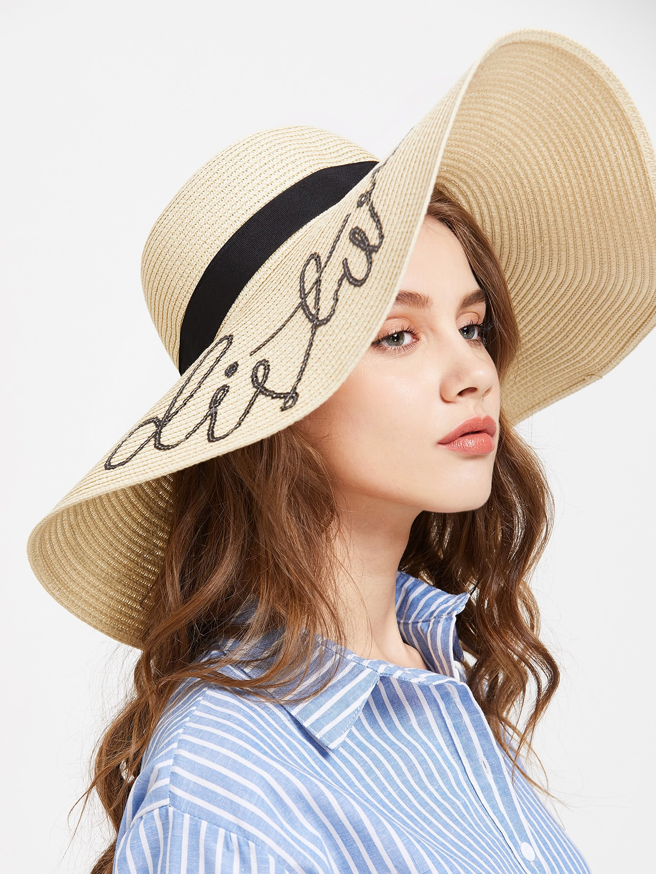 Beige Sequin Letter Wide Brim Straw Hat
