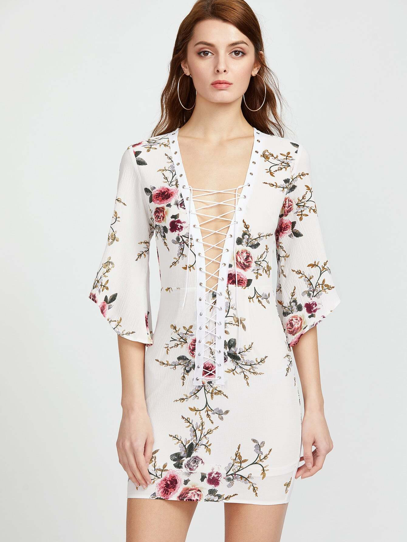 White Floral Print Lace Up Elbow Sleeve Dress