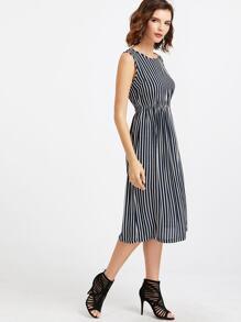 Vestido de rayas verticales cintura elástica