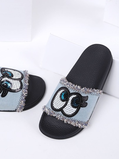 Light Blue Eye Detail Denim Flat Slippers