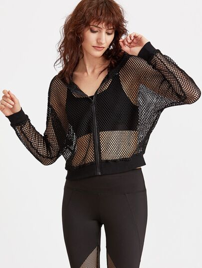 Zip Up Hooded Fishnet Jacket