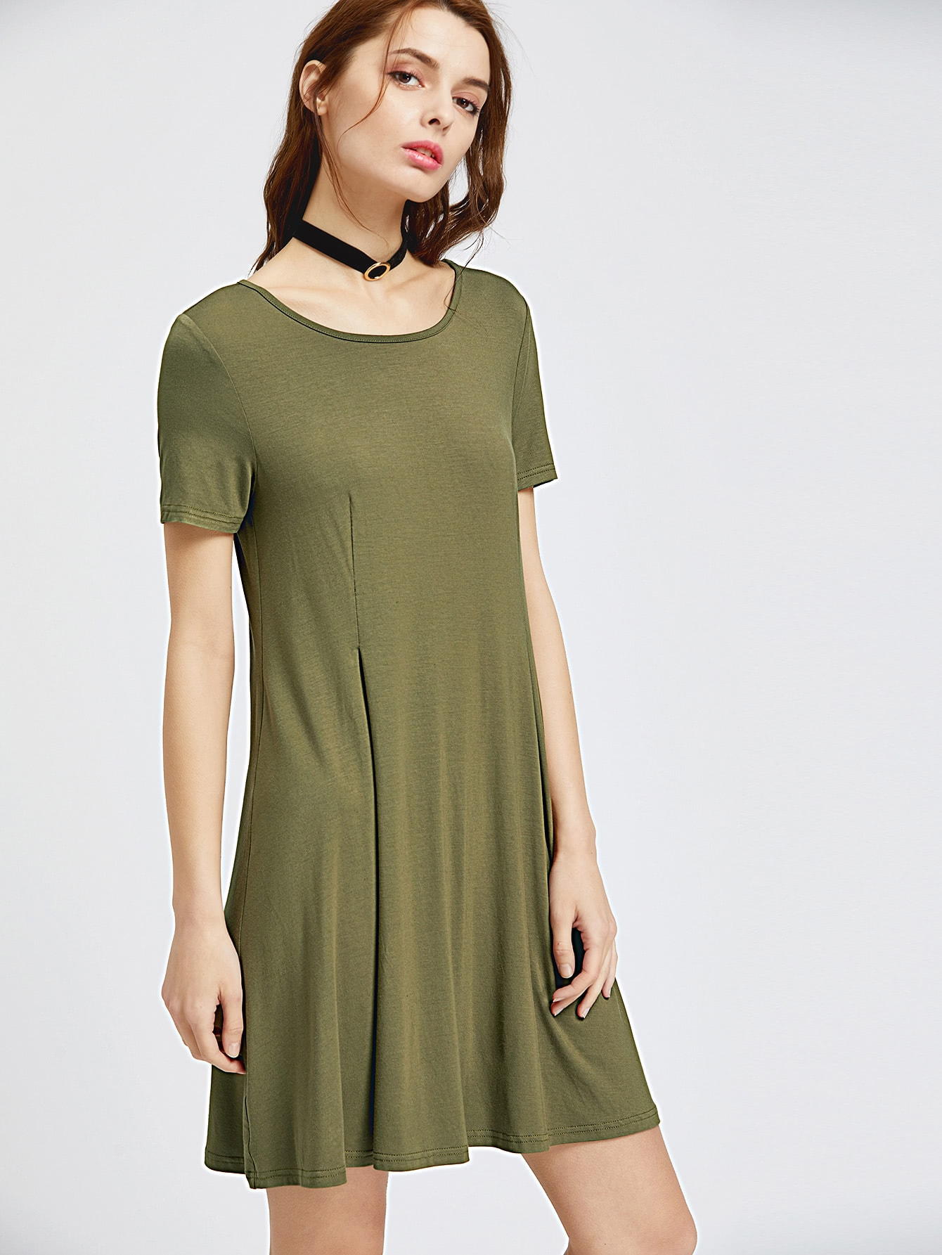 Фото Olive Green Short Sleeve Swing Godet Dress. Купить с доставкой