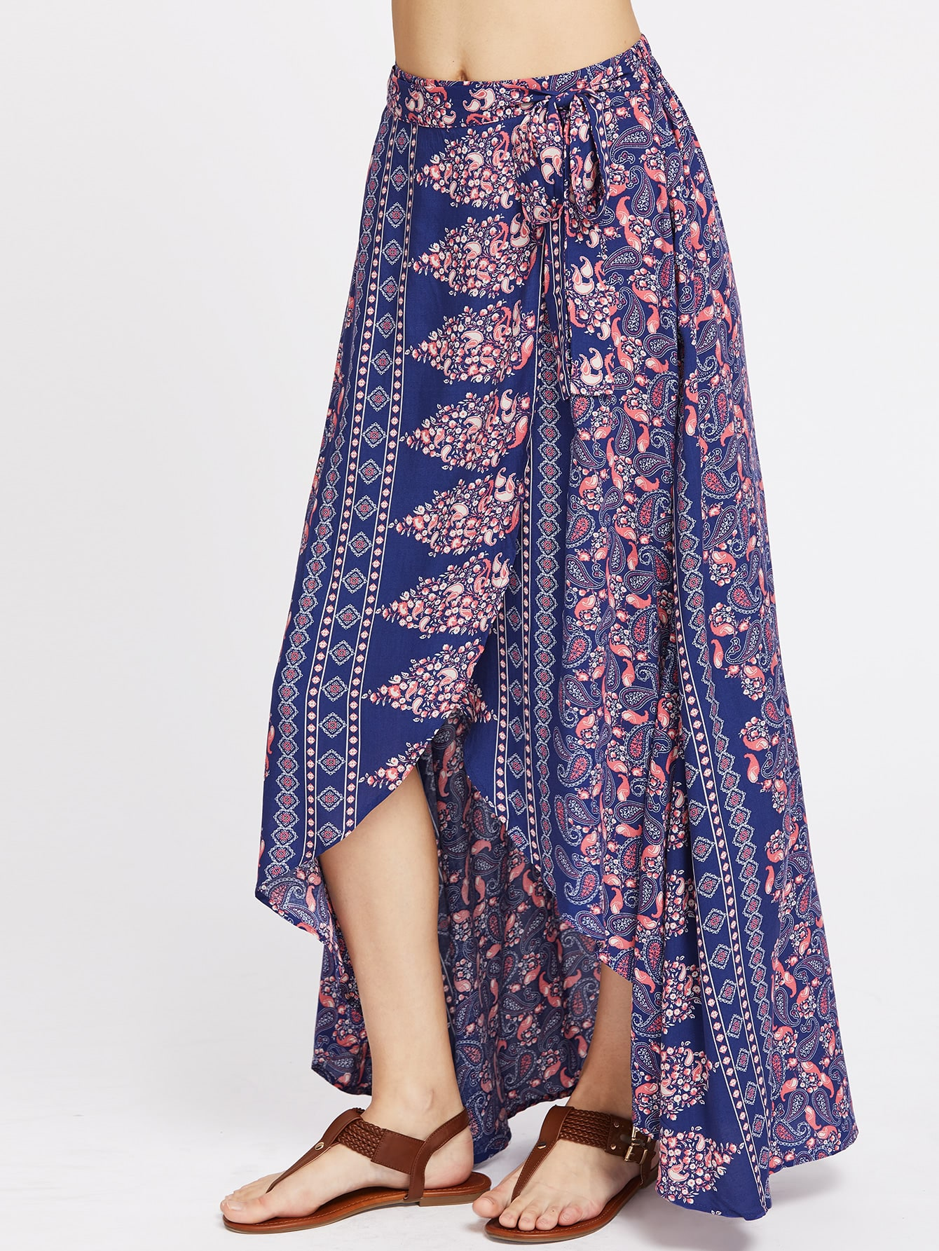paisley print high low wrap skirt shein sheinside