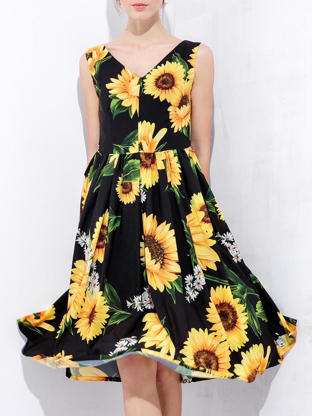 Фото Black V Neck Backless Sunflowers Print Dress. Купить с доставкой