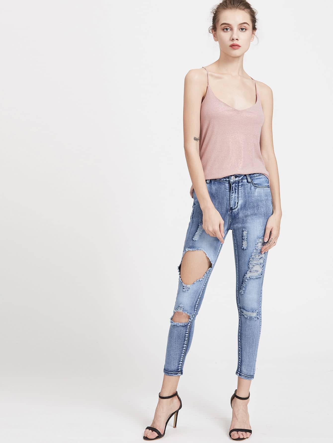 jeans waschwirkung mit l chern german shein sheinside. Black Bedroom Furniture Sets. Home Design Ideas