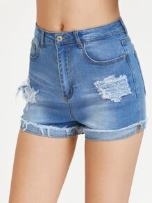 Shorts rupture effet denim lavage