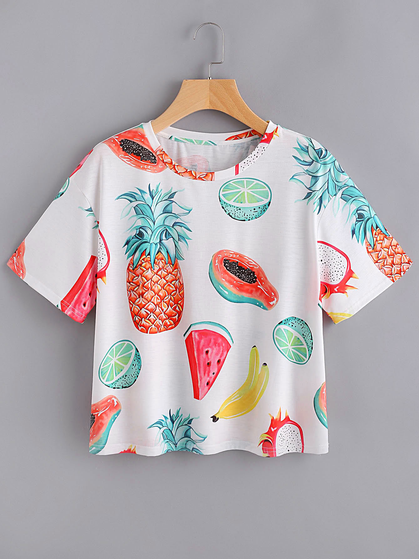 Allover fruit print t shirt shein sheinside for Where to print shirts