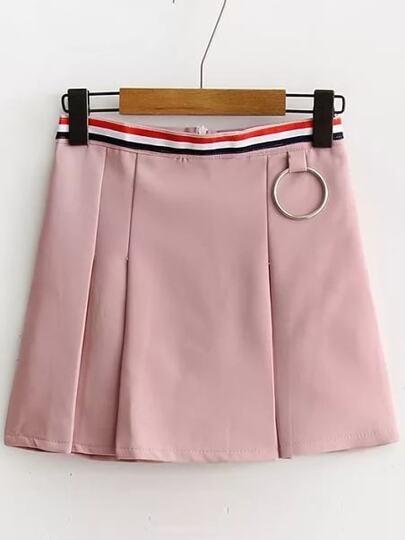 Striped Waist Zipper Back A Line Skirt With Ring Detail