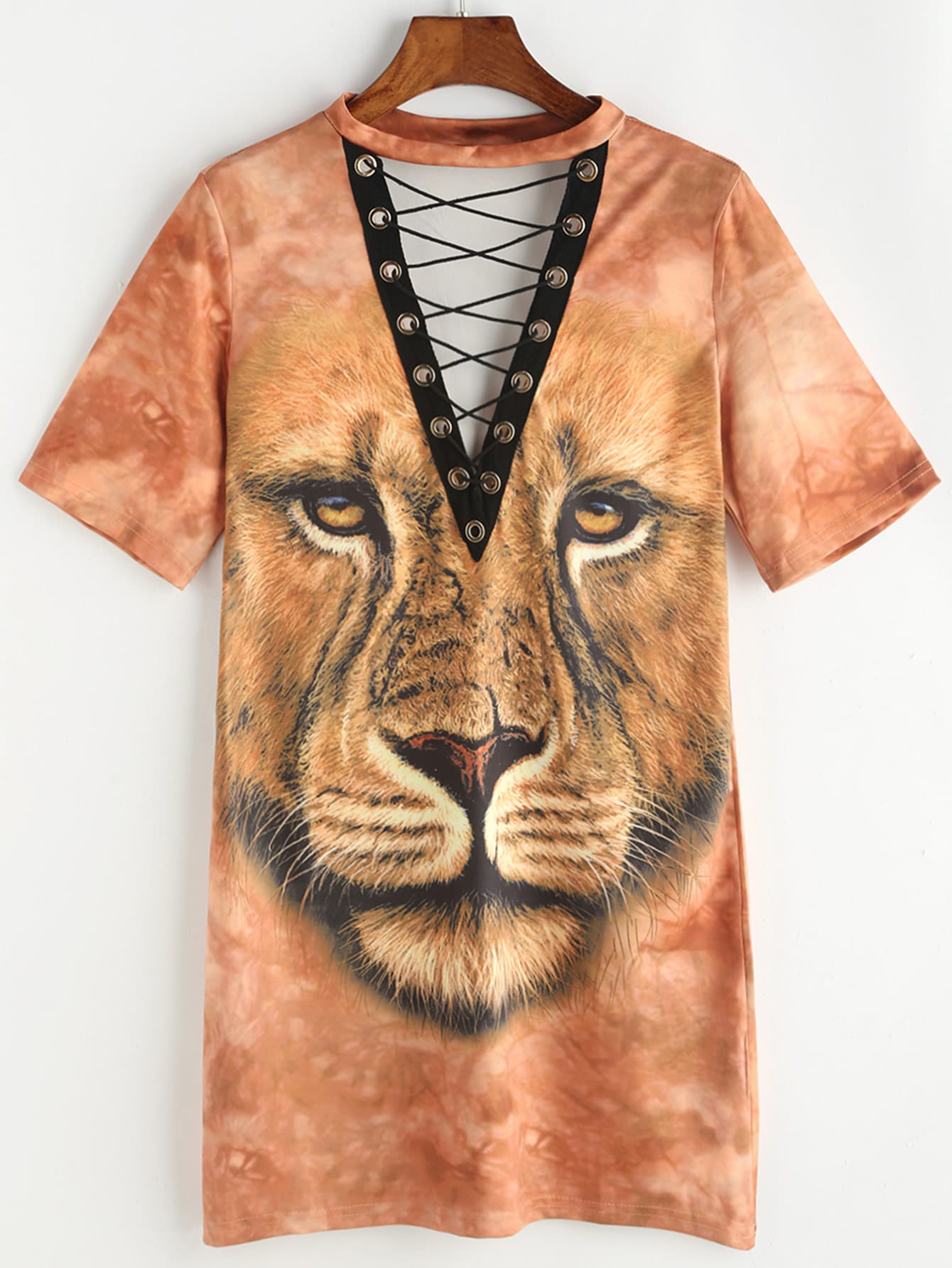 Фото Lion Print Eyelet Lace Up Tee Dress. Купить с доставкой