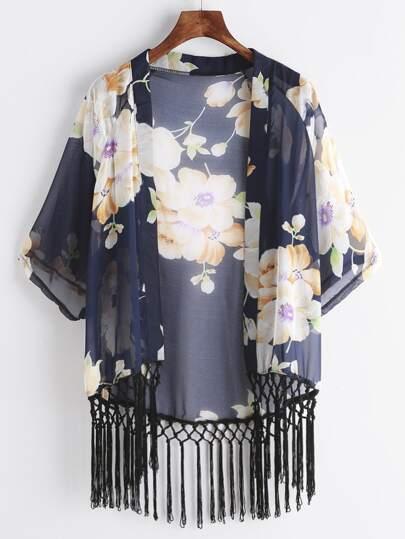 Navy Floral Print Fringe Hem Chiffon Kimono
