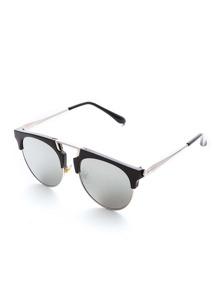 Sliver Arm Gray Lens Retro Style Lunettes de soleil