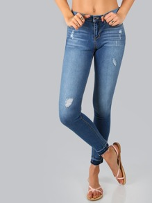 Frayed Ends Medium Wash Jeans DENIM