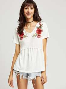 Embroidered Applique Seam Slub Tee
