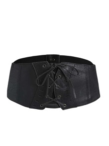 Black Eyelet Lace Up Faux Leather Waist Belt