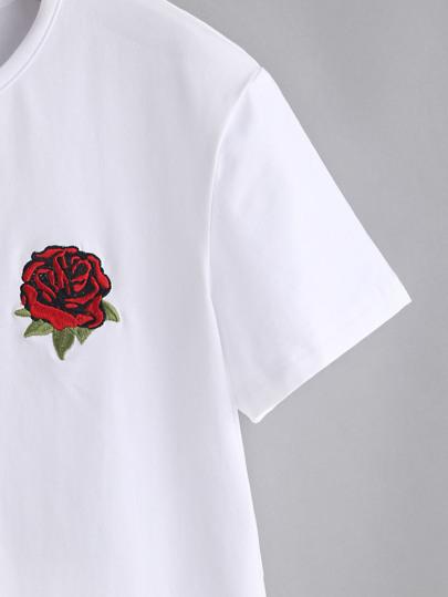 Rose embroidered tshirt shein sheinside