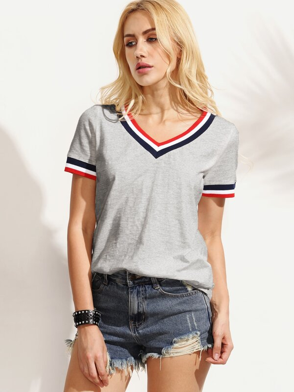 Striped Trim V Neck Tee by Shein