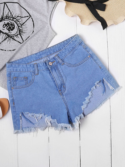 Bleach Wash Asymmetric Hem Frayed Denim Shorts