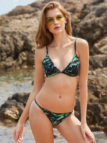 Collection de bikini imprimé feuille triangle -vert