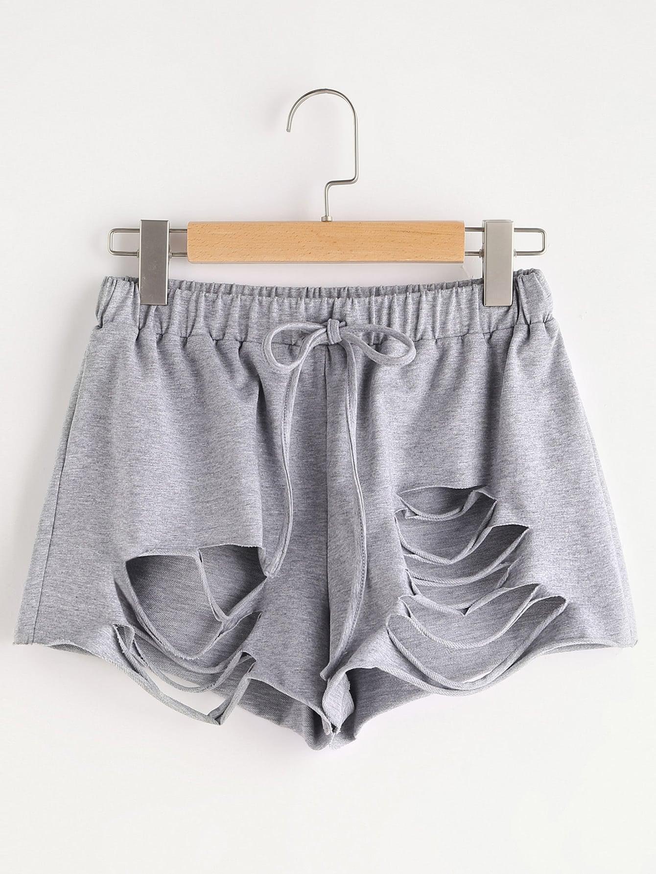 Фото Heathered Slashed Drawstring Shorts. Купить с доставкой