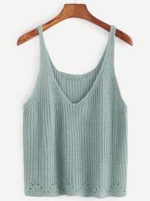 Pale Green V Neck Sweater Vest