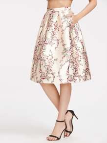 Falda plisada con estampado - champán