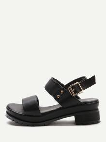 Sandales mignon noir en PU