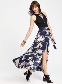 Falda cruzada con estampado de flor con abertura - marino