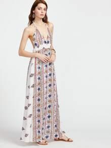 Ethnic Print Plunge Halter Backless Smocked Waist Dress