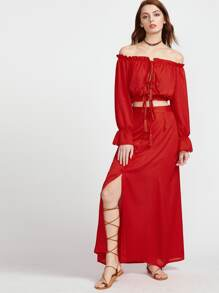 Red Tassel Tie Ruffle Crop Top With Skirt