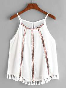 Embroidered Tape Detail Tassel Hem Cami Top