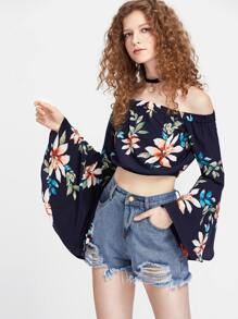 Bardot Exaggerated Bell Sleeve Floral Top
