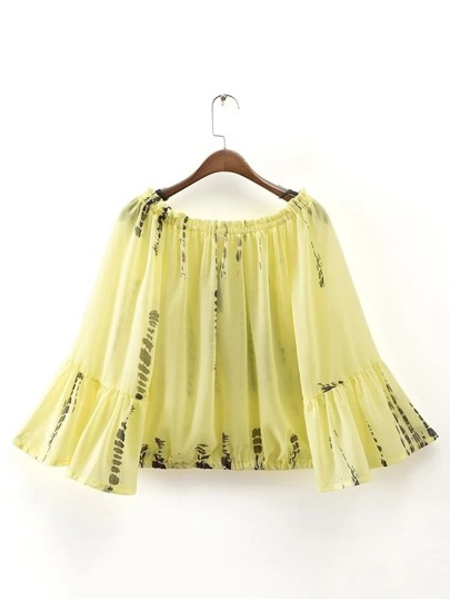 Yellow Tie Dye Print Off The Shoulder Bell Sleeve Top