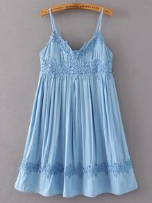 Blue Crochet Applique Cami Babydoll Dress