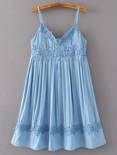 Blue Crochet Applique Cami Babydoll Dress