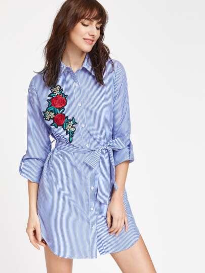Платье синее в полоску фото
