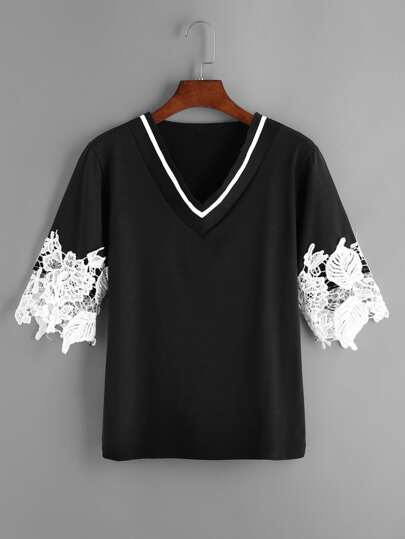 Contrast Crochet Lace Plunging Tee
