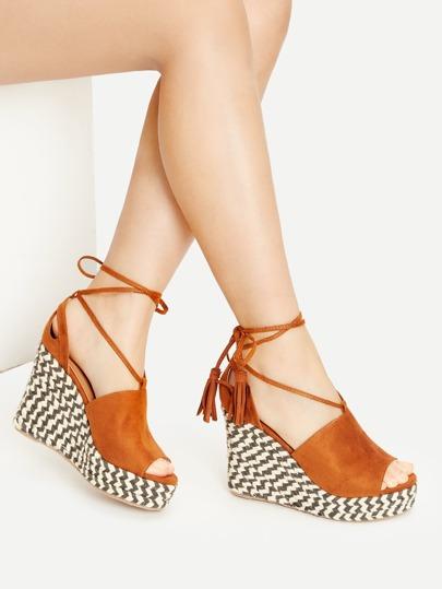 39bd58af8ba Brown Peep Toe Lace Up Wedge Sandals -SheIn(Sheinside)