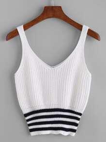 Double V Neck Striped Hem Knit Tank Top