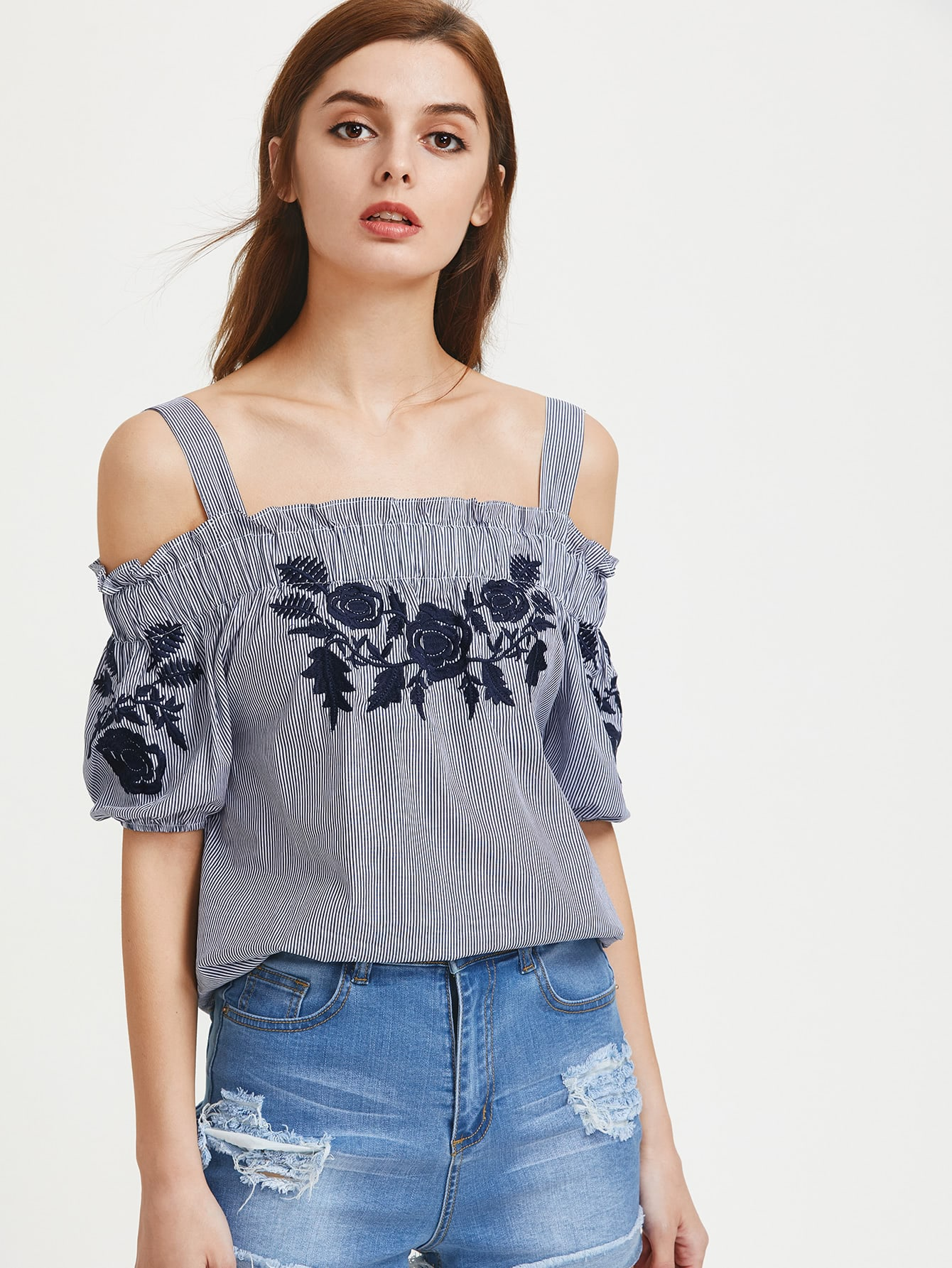 Фото Open Shoulder Pinstripe Embroidered Top. Купить с доставкой