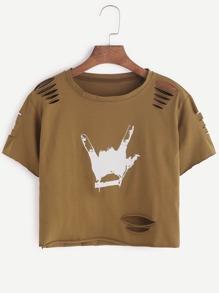 Khaki Gesture Print Ripped Raw Hem Crop T-shirt