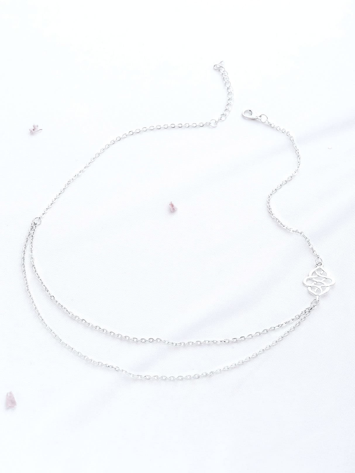 Фото Silver Hollow Out Detail Double Layered Necklace. Купить с доставкой