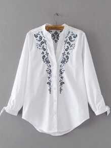 Embroidery Tie Cuff Curved Hem Blouse
