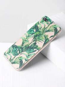 Green Leaf Print Clear iPhone 7 Plus Case