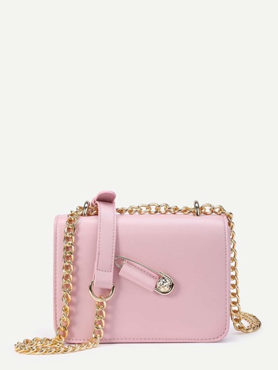 Pin Detail Flap PU Crossbody Bag With Chain
