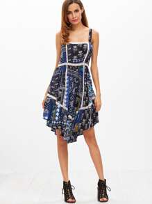 Patchwork Print Lace Insert Handkerchief Dress