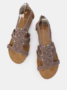 Crochet Knit Bead Sandals TAUPE
