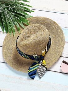 Kaki, faux, perle, broche, chapeau, écharpe