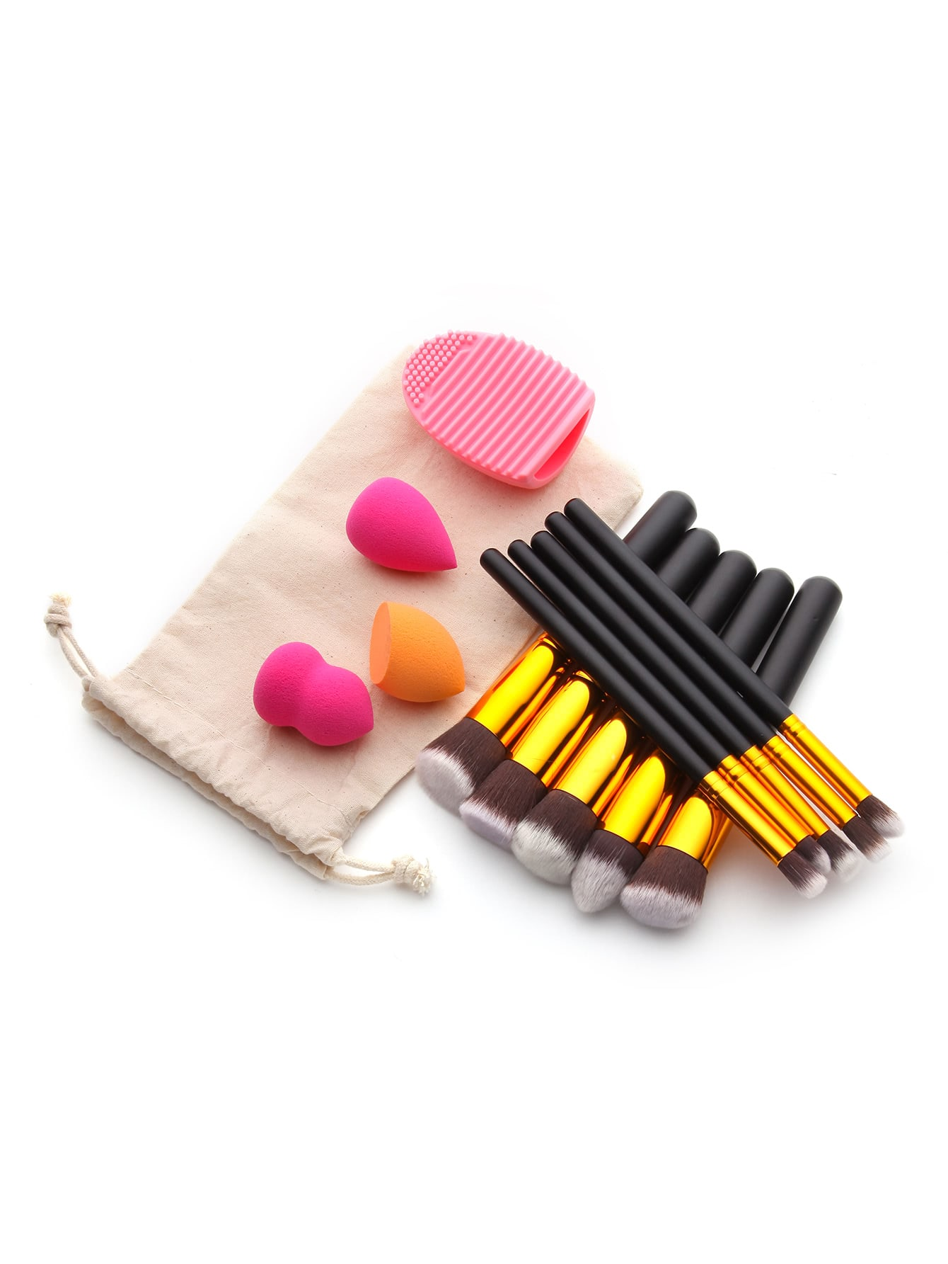 Makeup Tool Set With Puffs And Makeup Brushes twelve makeup brushes set